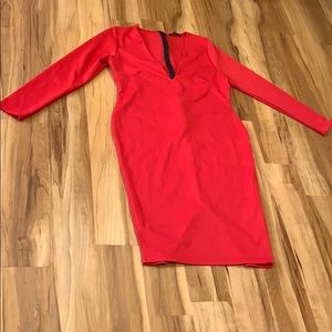 Missguided Red Long Sleeve Dress w/ Deep V-Neck